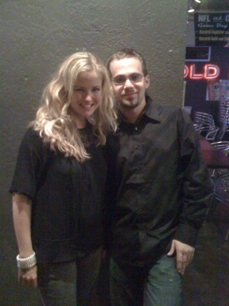 Egon with actress Keri Lynn Pratt. You can't see the subtle piping, but it's there.