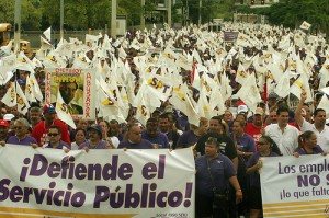 Protest in San Juan. Picture courtesy of the Service Employees International Union.