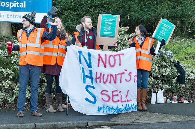 Junior doctors on the picket line outside West Suffolk Hospital.