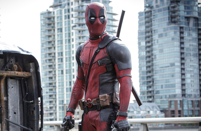 A promotional still from DEADPOOL featuring the titular character.