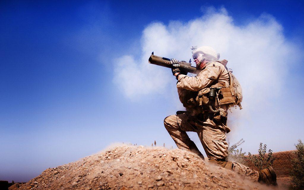 A Marine firing a rocket.