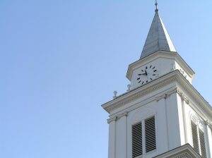 A clocktower at Wheaton College