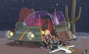 A cartoon character sitting in a space ship filled with alcohol bottles.