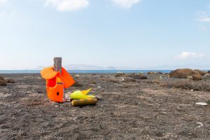 Life jackets on a beach