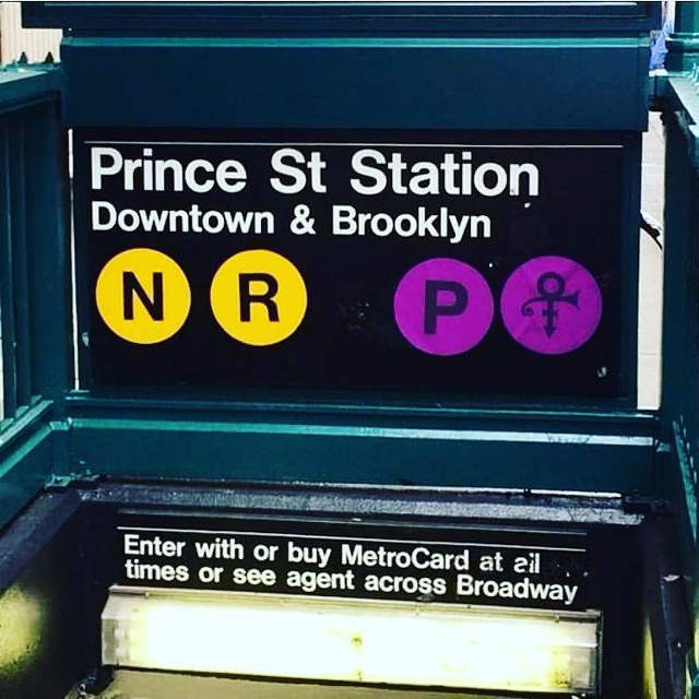 The sign for Prince Street Station in Brooklyn, modified to turn the P purple, with Prince's famous symbol added next to it.