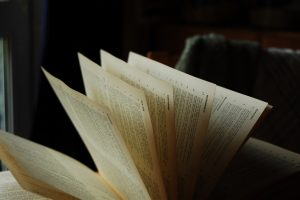 A book, pages fanned out.