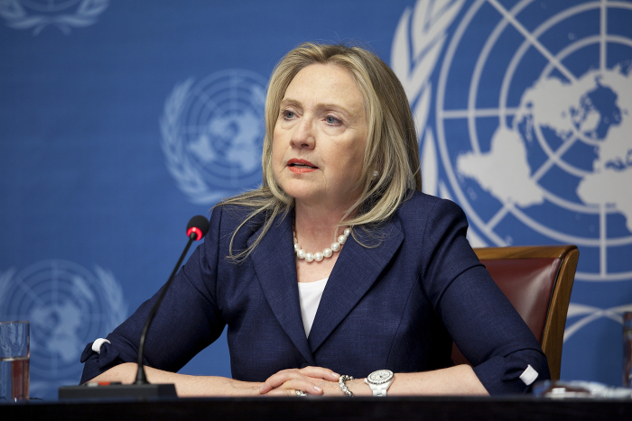Hillary Clinton speaking before the UN.