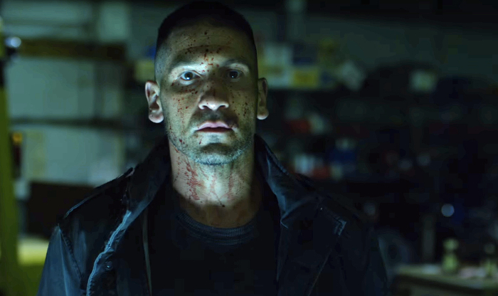 The Punisher, covered in blood.