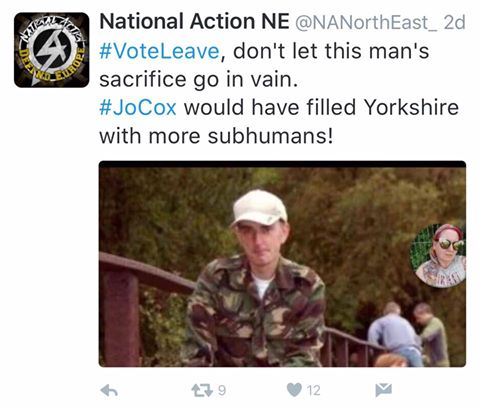 A Tweet from National Action exhorting people to vote leave in the upcoming Brexit to avoid 'more subhumans.'
