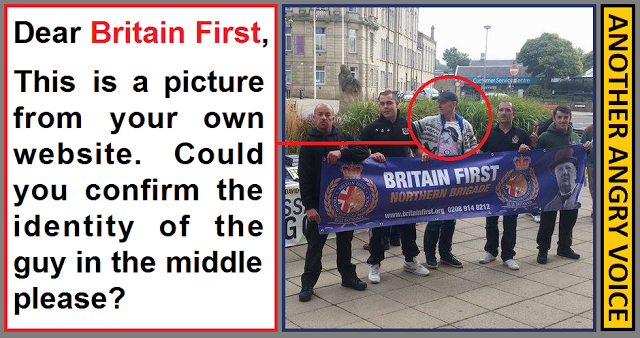 A shot of Thomas Mair, the man accused of murdering Jo Cox, standing with a Britain First Banner.