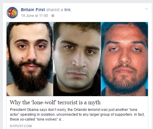 Propaganda from Britain First about lone wolf terrorism.