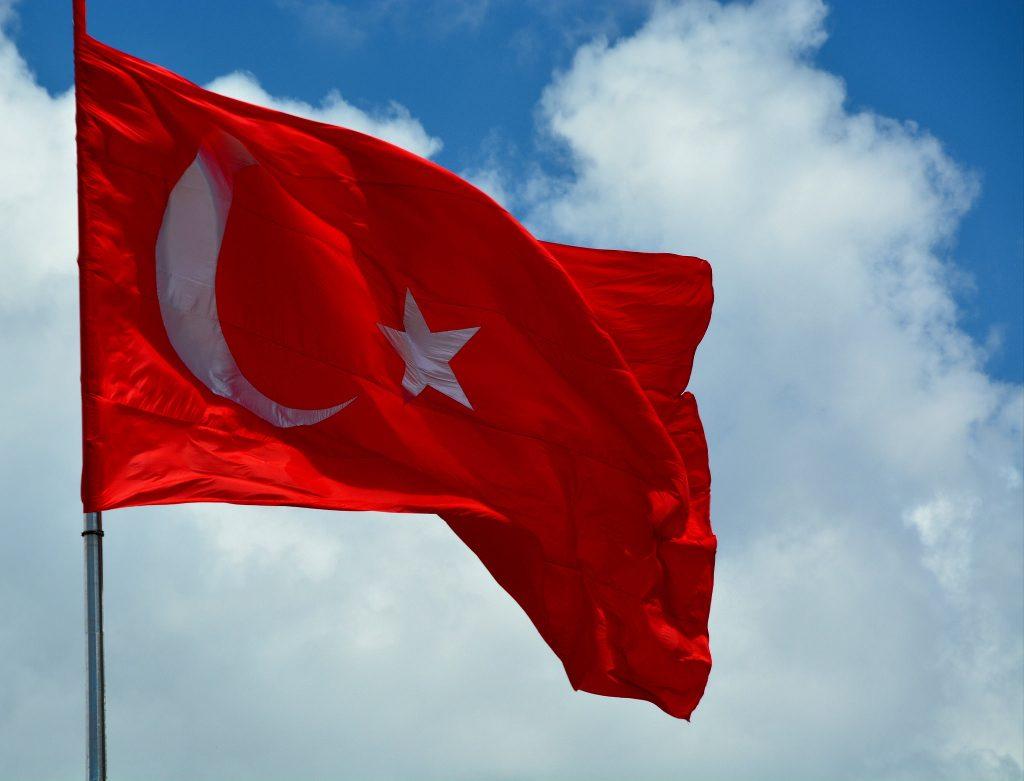 A Turkish flag waving.