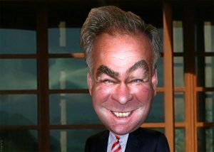 A political cartoon of Tim Kaine