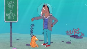 A still of BoJack Horseman talking to a sea horse.