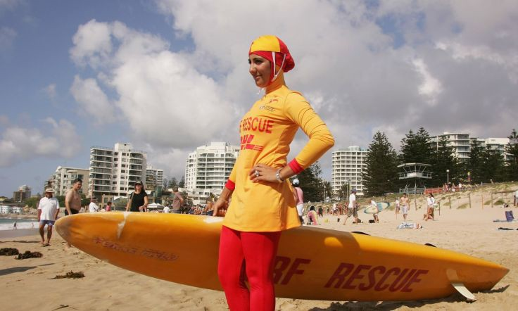 A lifeguard wearing a burkini.