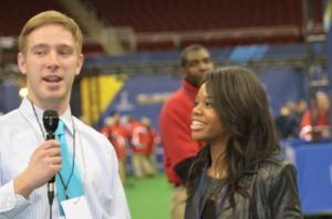 Gymnast Gabby Douglas being interviewed.