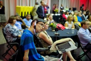 Disabled people at an event celebrating the ADA.