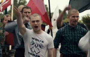 Daniel Radcliffe wearing white pride gear in Imperium