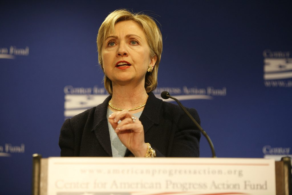 Secretary of State Hillary Clinton speaking at an event.