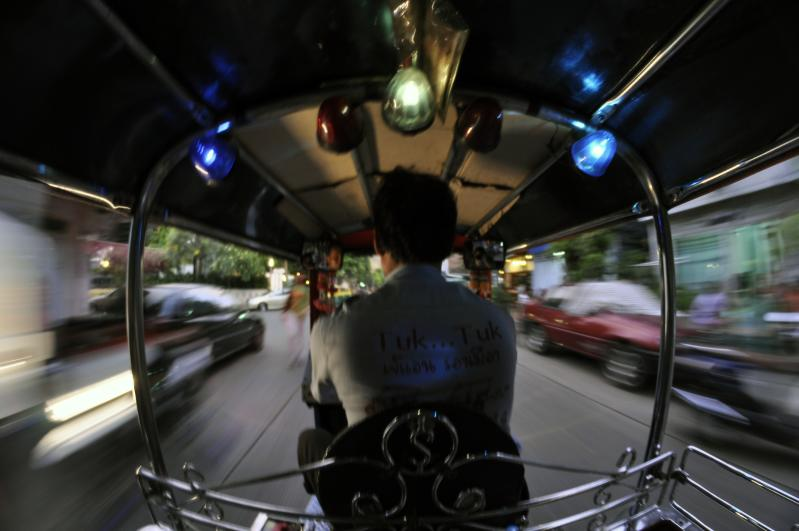 The view from inside a speeding tuk tuk