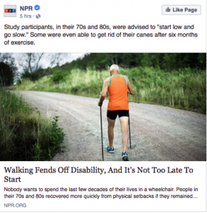 A screenshot of an NPR article showing a man walking with a stick.