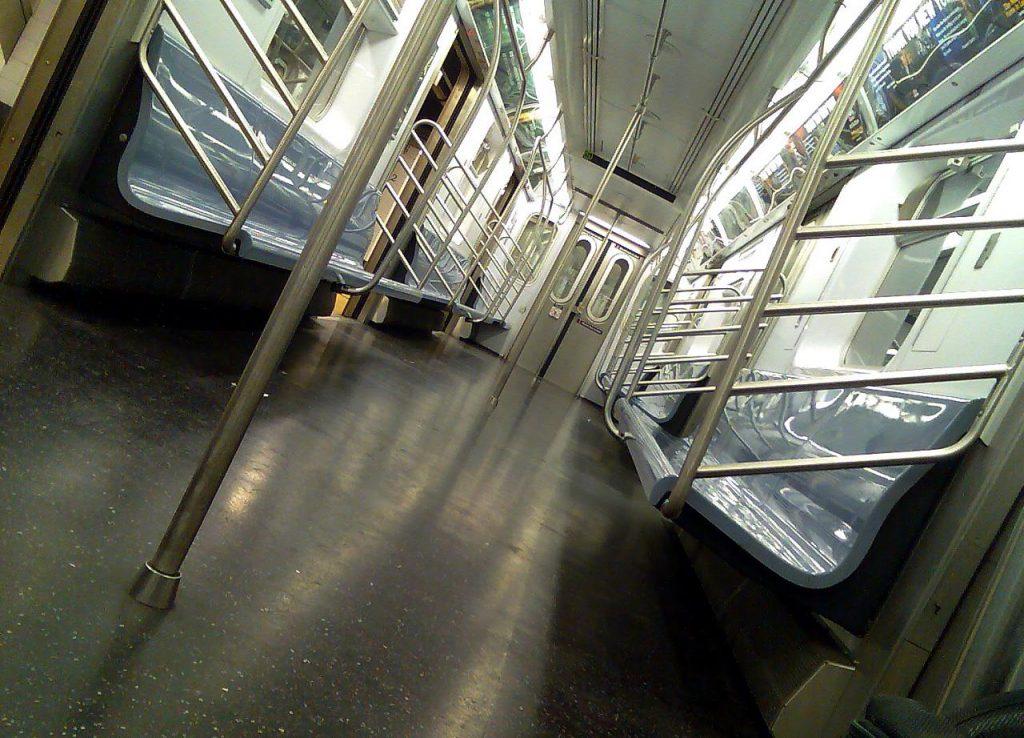 An empty subway car.
