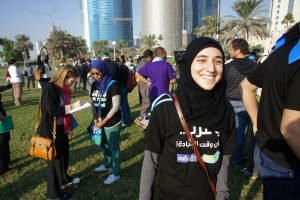 Arab youth at a climate protest in Qatar.