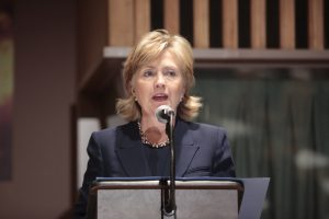 Secretary of State Hillary Clinton speaking at a State Department press conference.