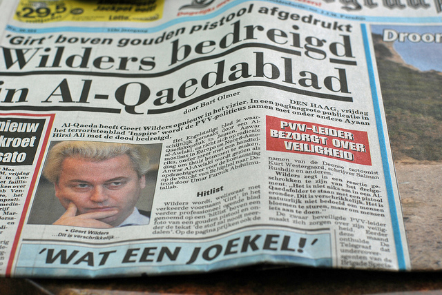 A Dutch newspaper featuring Geert Wilders.