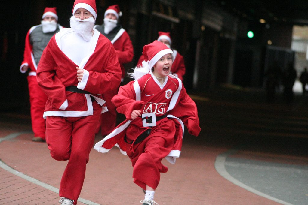 Entrants in a charity fun run dressed as Santa
