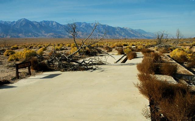 A concrete slab foundation at Manzanar.