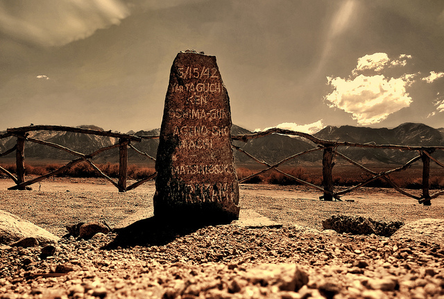 At Manzanar, a headstone marks the grave of Matsunosuke Murakami, believed to be the first to die at the camp after falling ill with pneumonia. Photo: Joseph Voves/Creative Commons