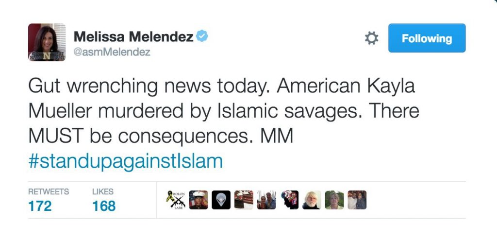 A tweet from Melissa Melendez saying: Gut wrenching news today. American Kayla Mueller murdered by Islamic savages. There MUST be consequences. MM