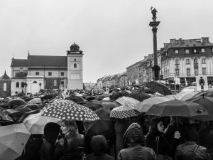 People protesting for abortion rights in Poland.