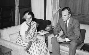 Prime Minister Indira Gandhi and Vice President George H.W. Bush in 1984.