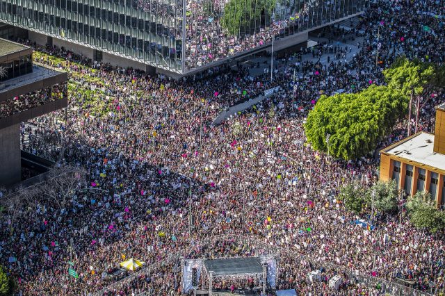 An overhead view of the LA women's march, showing the streets packed with protesters.