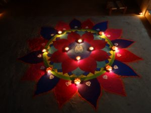 A colorful diwali rangoli.