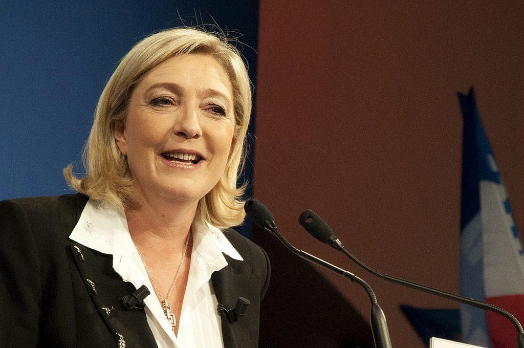 Marine Le Pen speaking at an event.