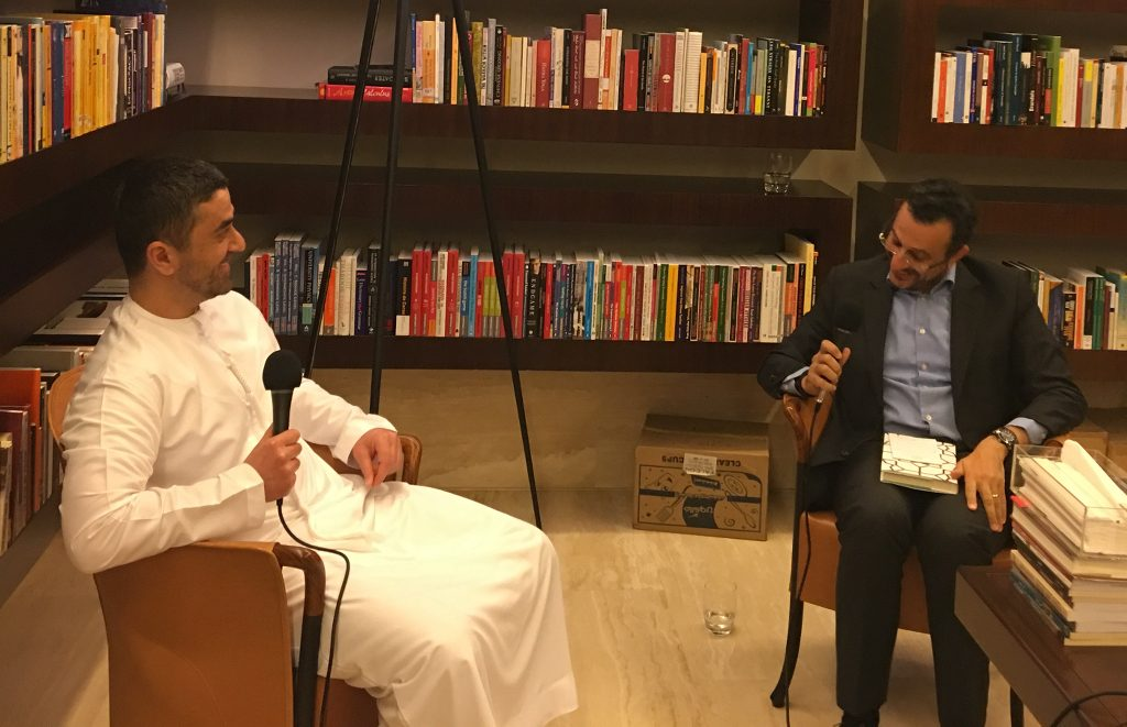 Omar Saif Ghobash and Nasser Khasawneh in conversation.