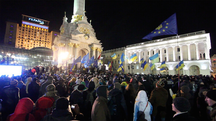 Protesters in the streets of Kiev.