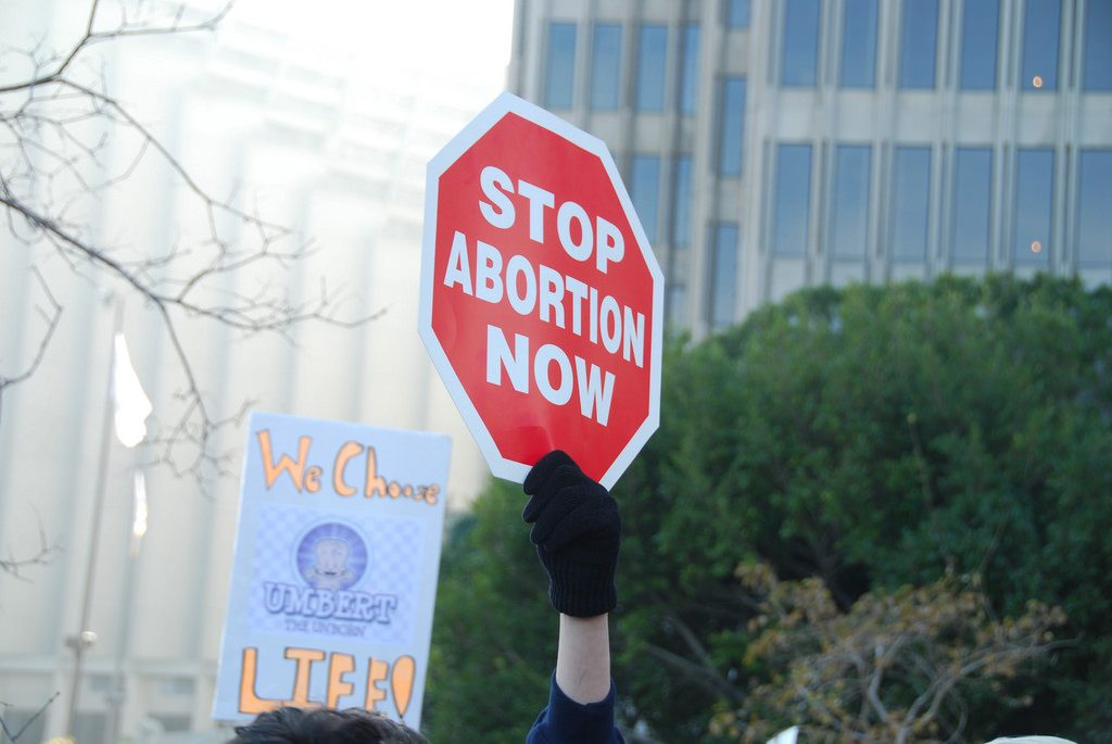 A protester holds up a sign: STOP ABORTION NOW.