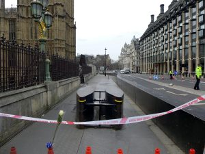 A view of Westminster blocked off by police tape.