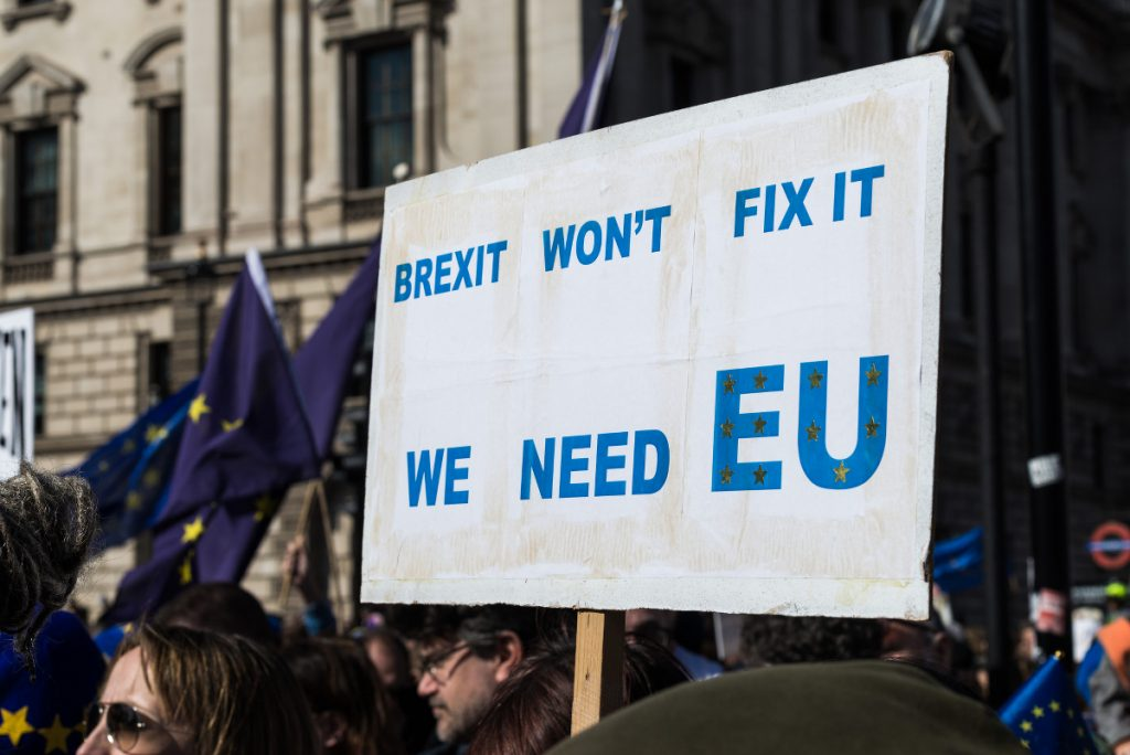 Protesters opposing Brexit.