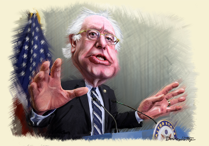 A political cartoon of Bernie Sanders.
