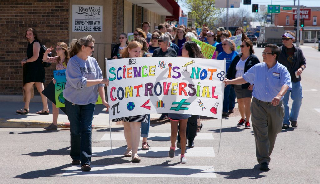 People participating in the March for Science