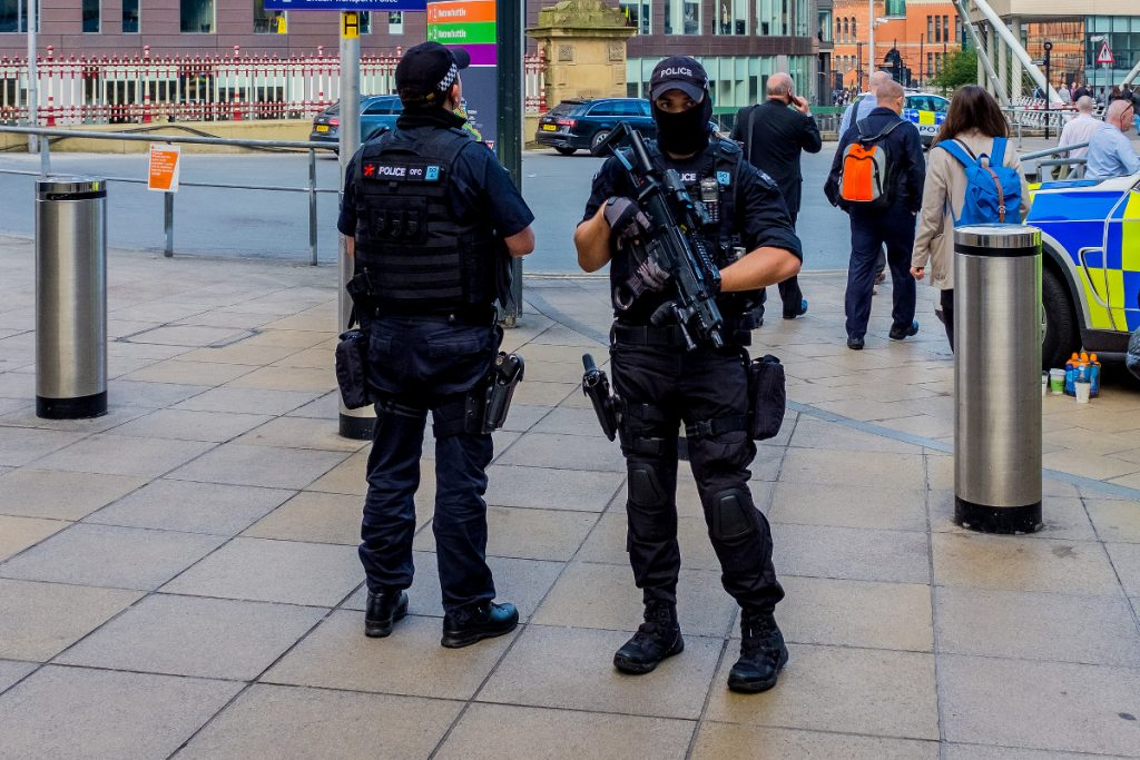 Police officers at the site of the Manchester Bombing