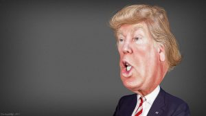 A caricature of Donald Trump.