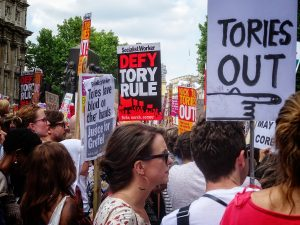 Protesters in Britain demonstrating against the Tories