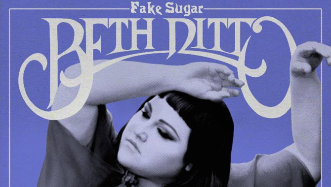 Beth Ditto poses on the retro cover of Fake Sugar