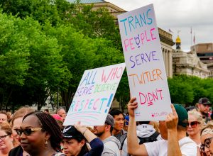 Protesters supporting transgender servicemembers in the US